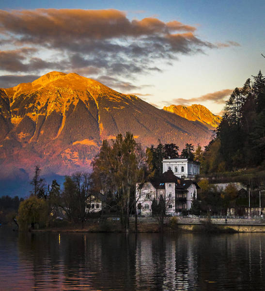 Sunset At Bled Poster