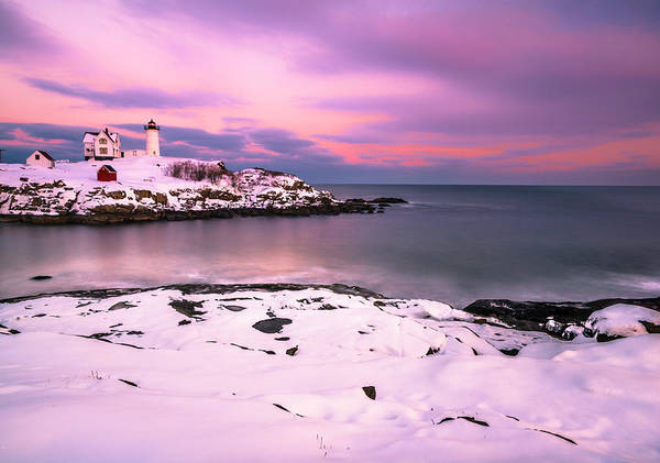 Sunset At Nubble Lighthouse In Maine In Winter Snow Poster