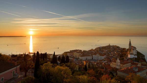 Sunset At Piran Poster