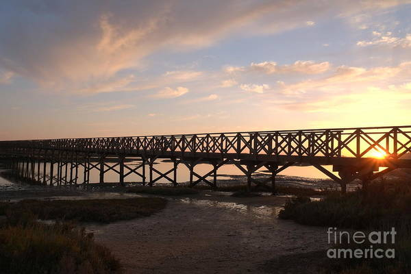 Sunset At The Wooden Bridge Poster