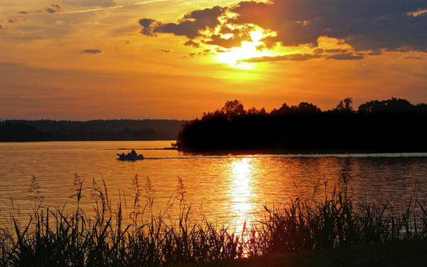 Sunset Boater, Smith Mountain Lake Poster