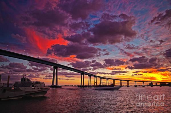 Sunset Crossing At The Coronado Bridge Poster