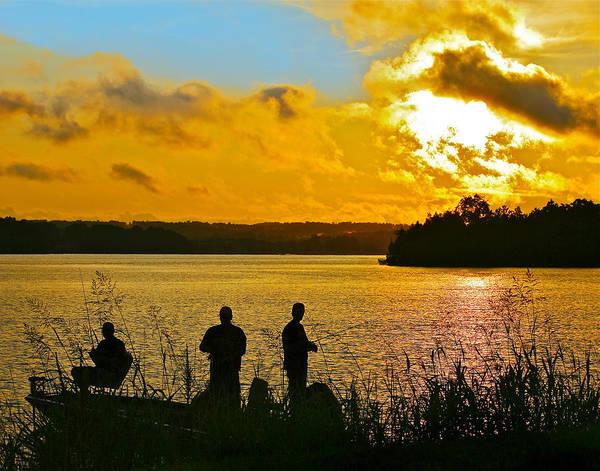 Sunset Fishermen Smith Mountain Lake Poster