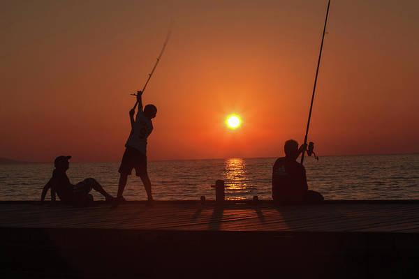 Sunset Fishermenr Poster