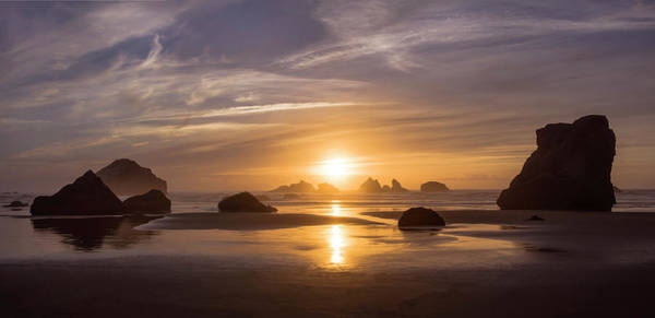 Sunset On Bandon Beach Poster