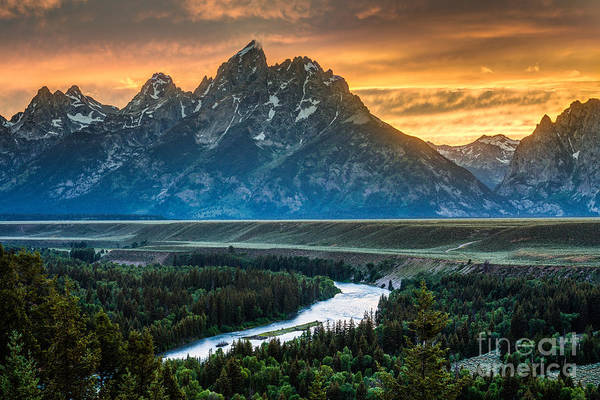 Sunset On Grand Teton And Snake River Poster