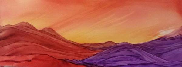 Sunset On Red And Purple Hills Poster