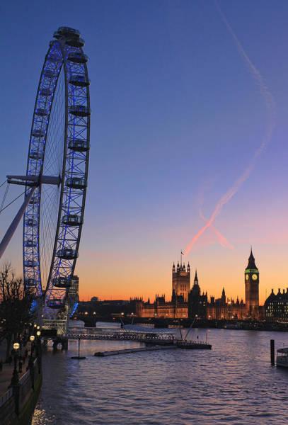 Sunset On River Thames Poster