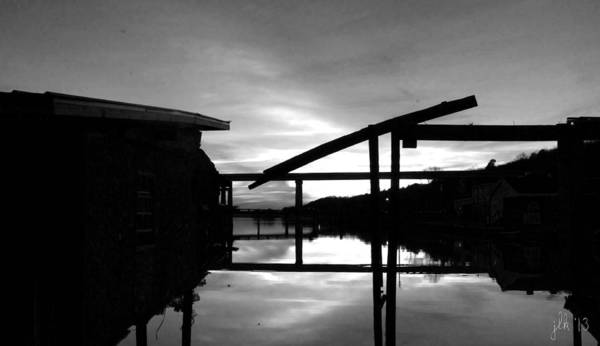 Sunset On The Coosa River - Black And White Poster