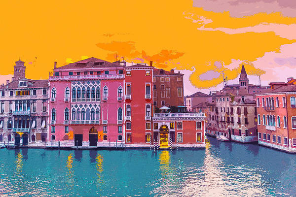 Sunset On The Grand Canal Venice Poster