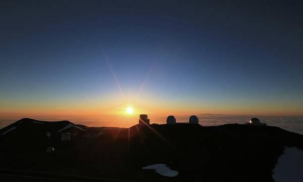 Sunset On The Mauna Kea Observatories Poster