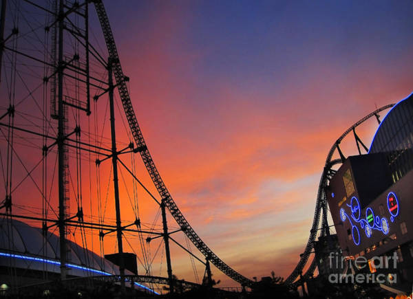 Sunset Over Roller Coaster Poster