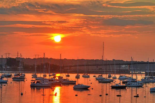 Sunset Over Salem Harbor Salem Beverly Bridge 2 Poster