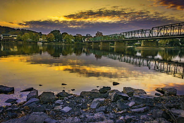 Sunset Over The Bridge Poster