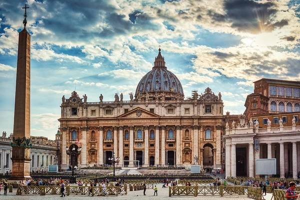 Sunset Over The Papal Basilica Of Saint Peter Poster