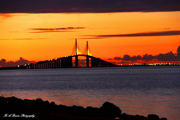 Sunset Over The Skyway Bridge Poster
