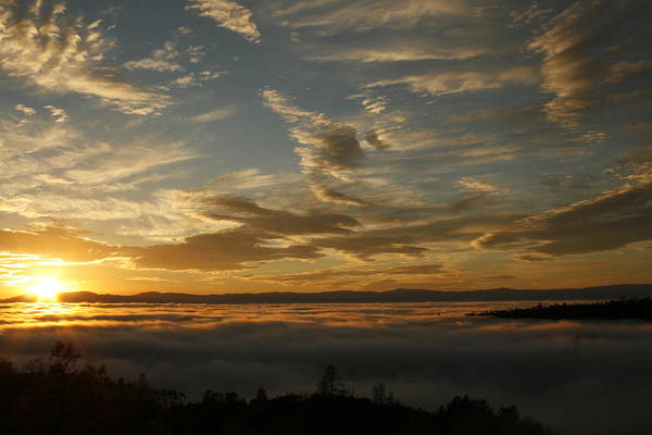 Sunset Over The Valley Fog Poster