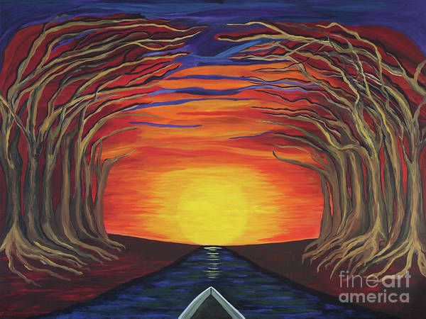 Treetop Sunset River Sail Poster