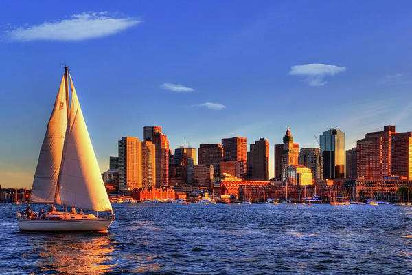 Sunset Sail On Boston Harbor Poster