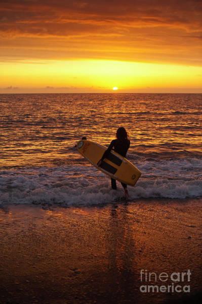 Sunset Surfer On Aberystwyth Beach Wales Uk Poster