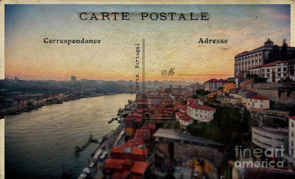 sunset view of the Douro river and old part of  Porto, Portugal Poster