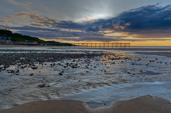 Sunset With Saltburn Pier Poster
