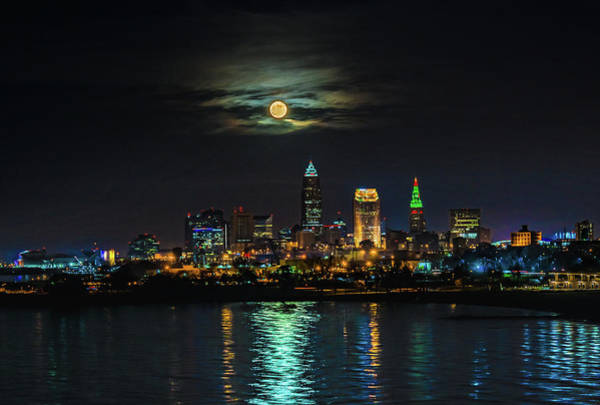 Super Full Moon Over Cleveland Poster