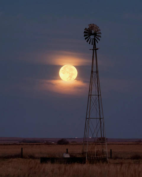 Super Moon And Windmill Poster