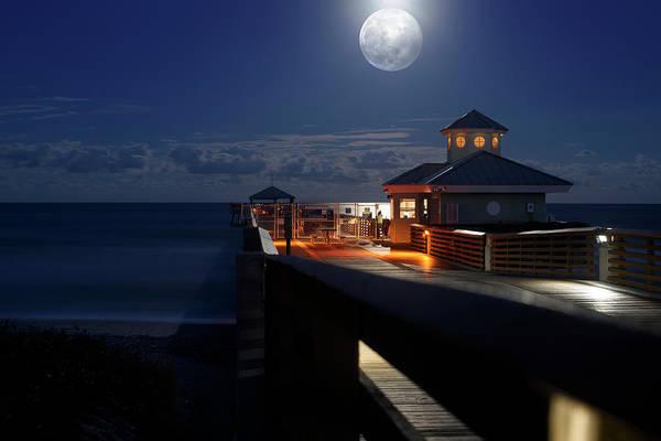 Super Moon At Juno Pier Poster