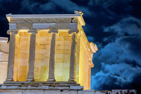 Poster featuring the photograph Supermoon In Acropolis by Nikos Stavrakas