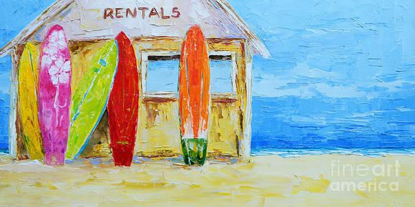 Surf Board Rental Shack At The Beach - Modern Impressionist Palette Knife Work Poster