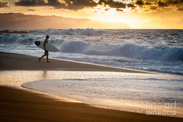Surfer On Beach Poster