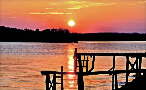 Surreal Smith Mountain Lake Dock Sunset Poster