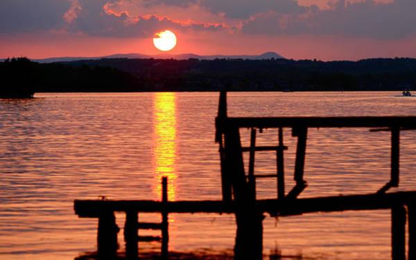 Surreal Smith Mountain Lake Dockside Sunset 2 Poster