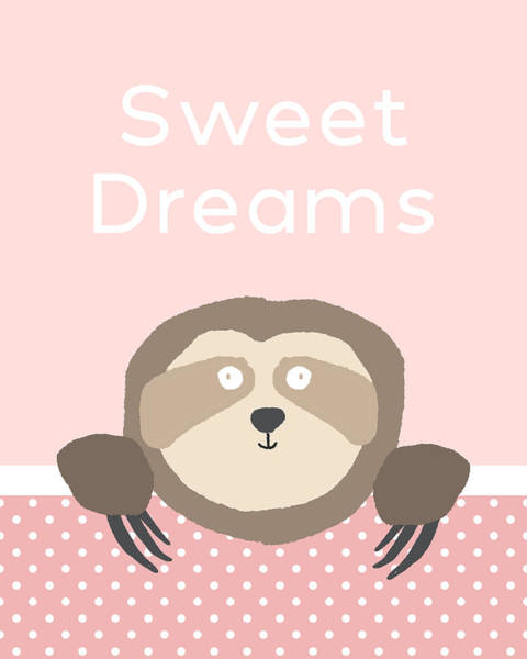 Sweet Dreams Sloth Pink- Art By Linda Woods Poster