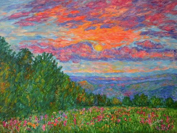 Sweet Pea Morning On The Blue Ridge Poster