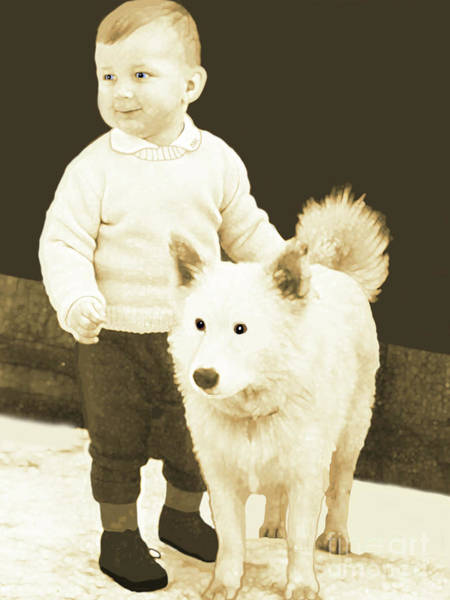 Sweet Vintage Toddler With His White Mutt Poster