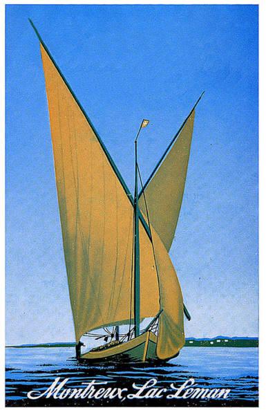 Switzerland, Lake Geneva, Montreux, Sailing Boat Poster