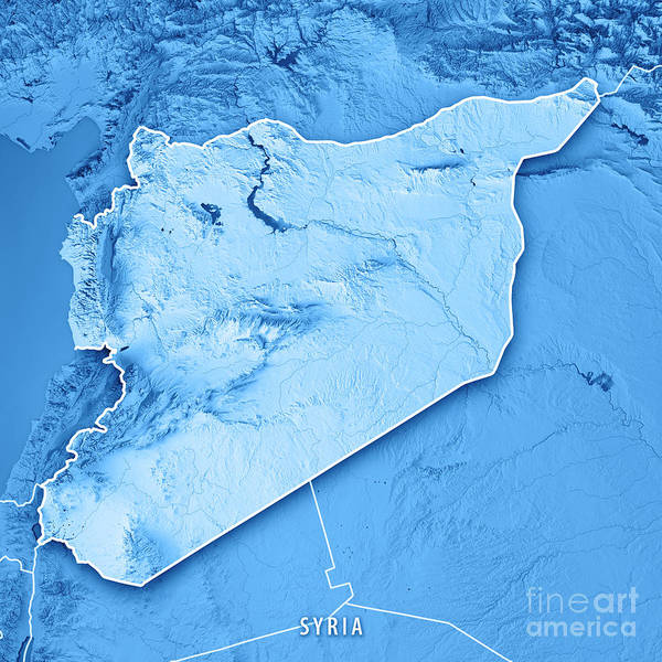 Syria Country 3d Render Topographic Map Blue Border Poster