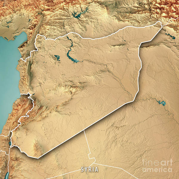 Syria Country 3d Render Topographic Map Border Poster