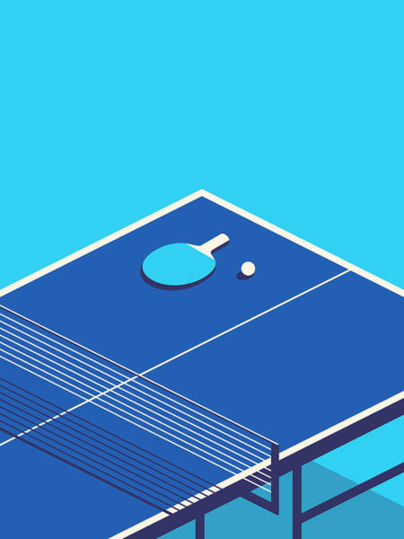 Table Tennis Table Isometric - Cyan Poster