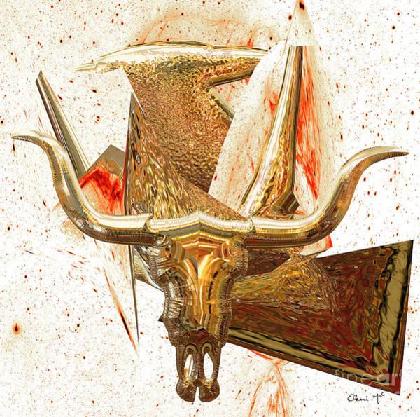 Poster featuring the digital art Taurus by Eleni Mac Synodinos
