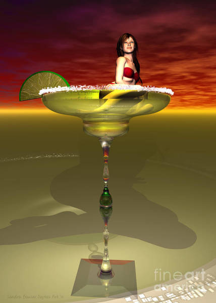 Poster featuring the digital art Tequila Sunrise by Sandra Bauser Digital Art