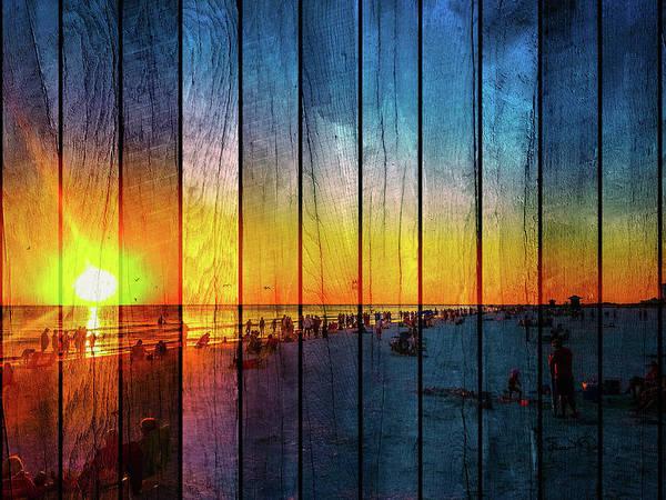 Siesta Key Drum Circle Sunset - Wood Plank Look Poster