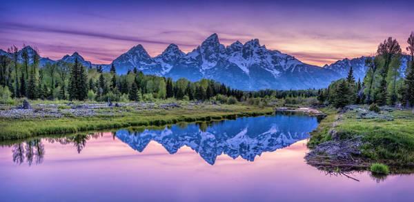 Sunset Teton Reflection Poster