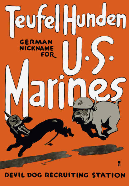 Teufel Hunden - German Nickname For Us Marines Poster