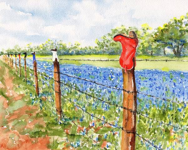 Texas Bluebonnets Boot Fence Poster