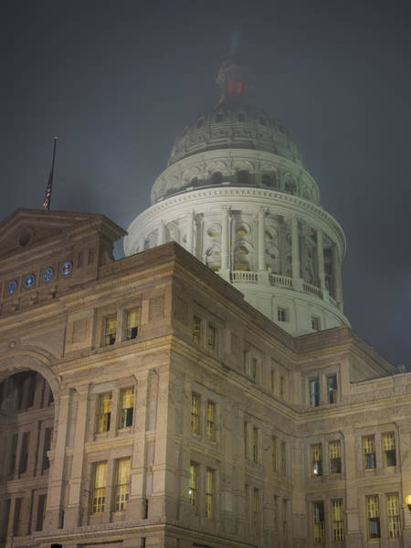 Texas Capitol In Fog Poster