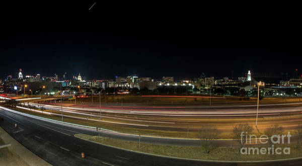 Texas University Tower And Downtown Austin Skyline From Ih35 Poster