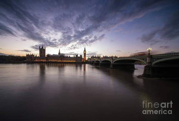 Thames And Big Ben Dramatic Skies Poster